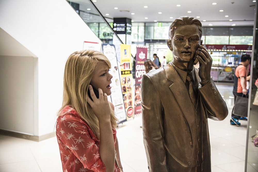 Nicole and Gold Statue