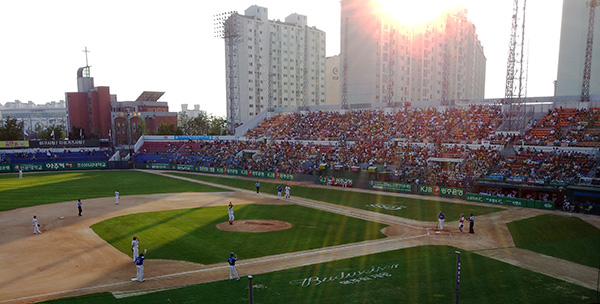 Sunset at Gwangju Mudeung Baseball Stadium