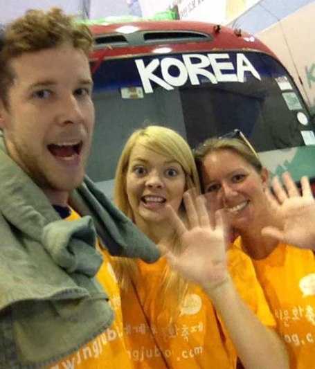 Team SuerLate in front of the Kimchi Bus