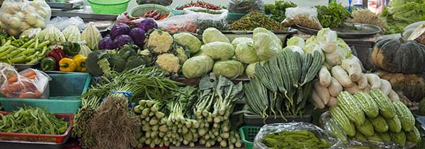 Fresh veggies at the railroad market in Bangkok Thailand