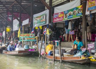 Vendors on boats