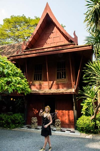 Nicole in front of the Jim Thompson House
