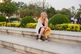 Nicole in the park across from Wat Arun