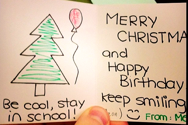 We all received Christmas cards from different co-workers when we walked into the party.