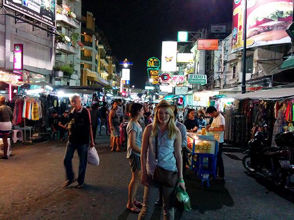 Nicole on Kao San road aka Foreigner Town