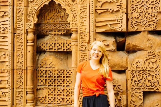 Nicole at Qutab Minar
