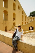 Nicole before the samrat yantra (Giant sundial)