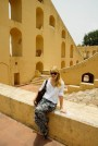 Nicole before the samrat yantra (Giant sundial)