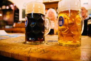 Beer at the Hofbrauhaus, dunkel and helles