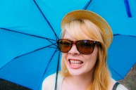 Nicole sporting our brand new blue Berlin umbrella, we lost ours in Munich