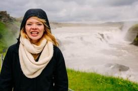 Nicole at Gullfoss Waterfall