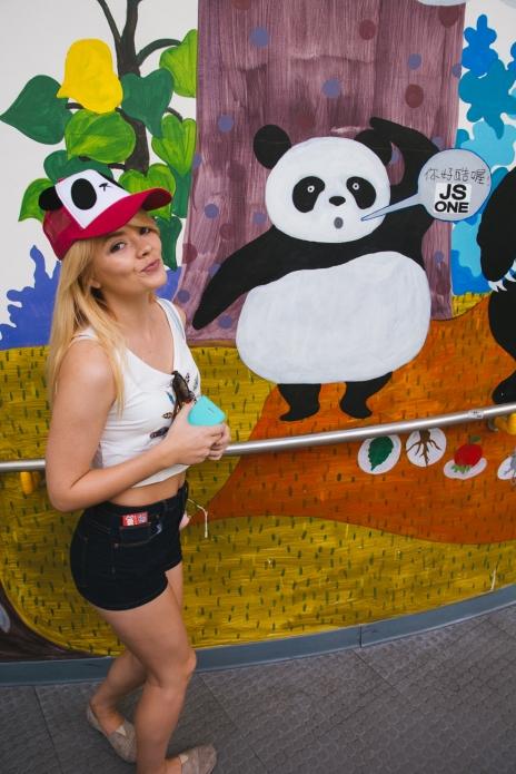 Nicole sporting her new Panda hat