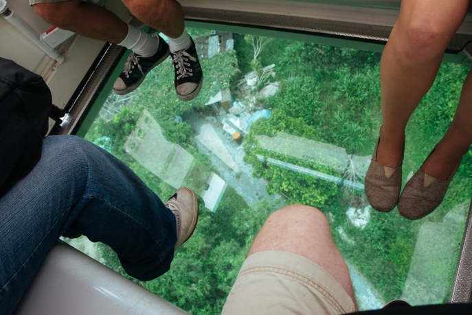 We got to ride in a special glass bottom gondola on our way down