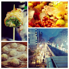 Dumplings, fresh fruit, meat skewer, and Taipei by night