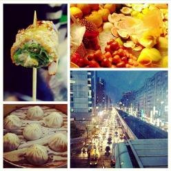 Dumplings, fresh fruit, meat skewer, and Taipei by night