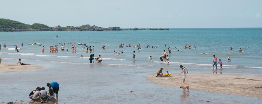 Beach goers enjoying the water