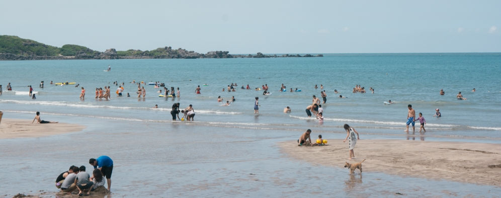 Beach goers enjoying the water