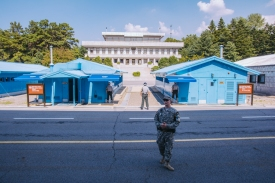 The JSA, the blue buildings are UN and the white building in back is North Korea