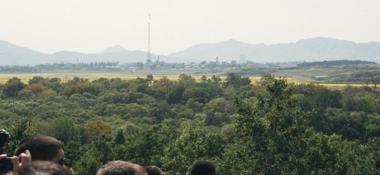 North Korea propaganda village with giant flagpole