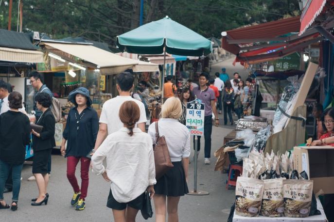 The walk to Yonggungsa temple, aka, Snack Alley