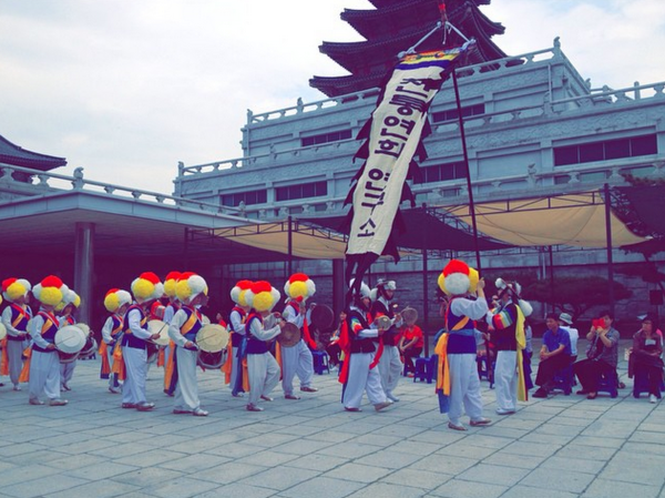 A parade through the Korean Folk Museum