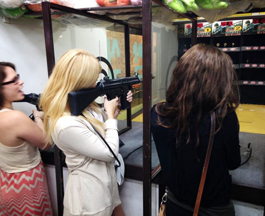 Nikki, Nicole, and Kiana shooting bb guns