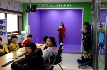 Student's practicing in the broadcast room